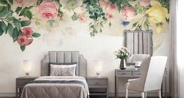 ห้องนอนตกแต่งผนังหัวเตียงลายดอกไม้ ห้องนอนสไตล์วินเทจ วอลเปเปอร์ลายดอกไม้