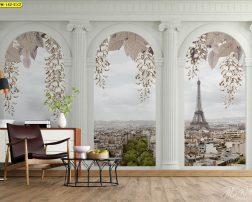 ห้องนั่งเล่นวิวปารีส วอลเปเปอร์กรุผนังลายดอกไม้ กรุผนังห้องนั่งเล่นสวยๆ