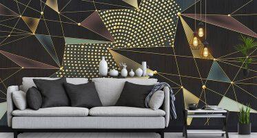วอลเปเปอร์ลายเส้นและจุดสีทอง Abstract Wallpaper ไอเดียแต่งห้องนั่งเล่นเท่ๆ abstract design