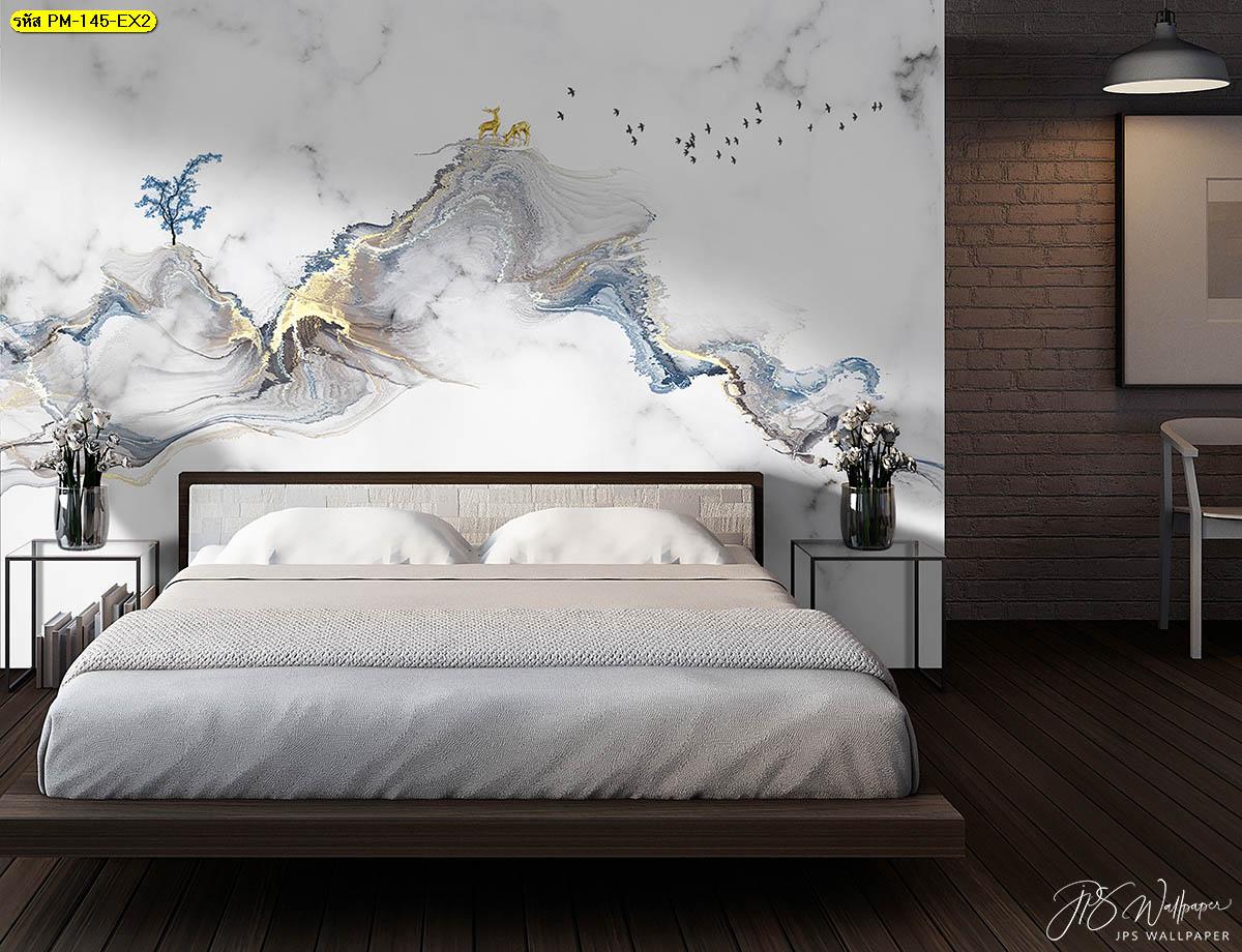 แต่งหัวเตียงลายหินอ่อนสวยๆ เปลี่ยนห้องนอนให้ดูหรู น่านอน