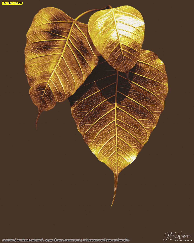 วอลเปเปอร์ใบโพธิ์ทองพื้นหลังสีน้ำตาลเรียบ ลายไทยใบโพธิ์ทอง