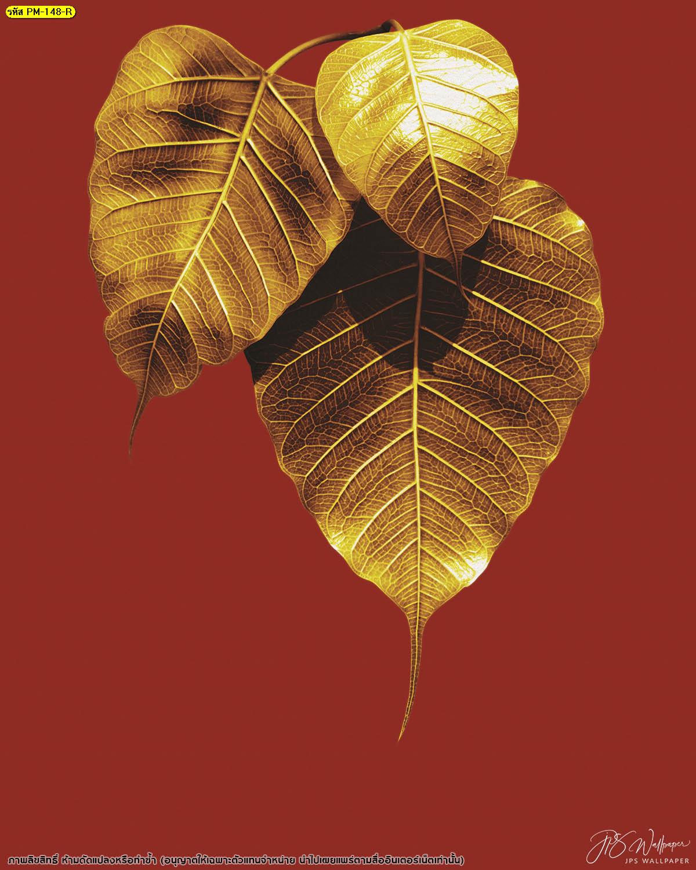 วอลเปเปอร์ใบโพธิ์ทองพื้นหลังสีแดงเรียบ ลายไทยใบโพธิ์ทอง