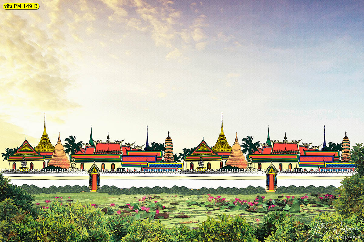 วอลเปเปอร์ลายวัดไทยโทนสีเย็น ภาพวัดไทย พระราชวังไทย วัง