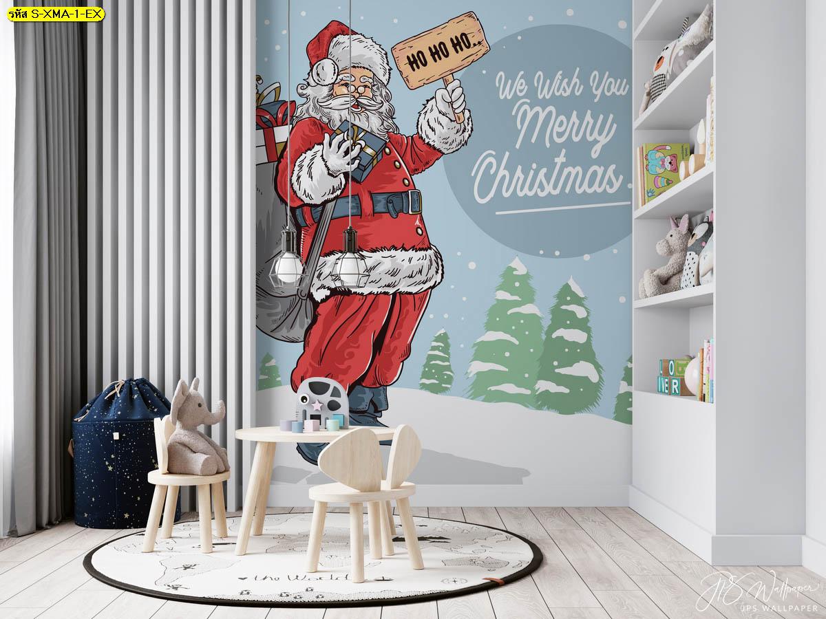 ตกแต่งผนังห้องในธีมเทศกาลคริสต์มาส น่ารัก สดใส