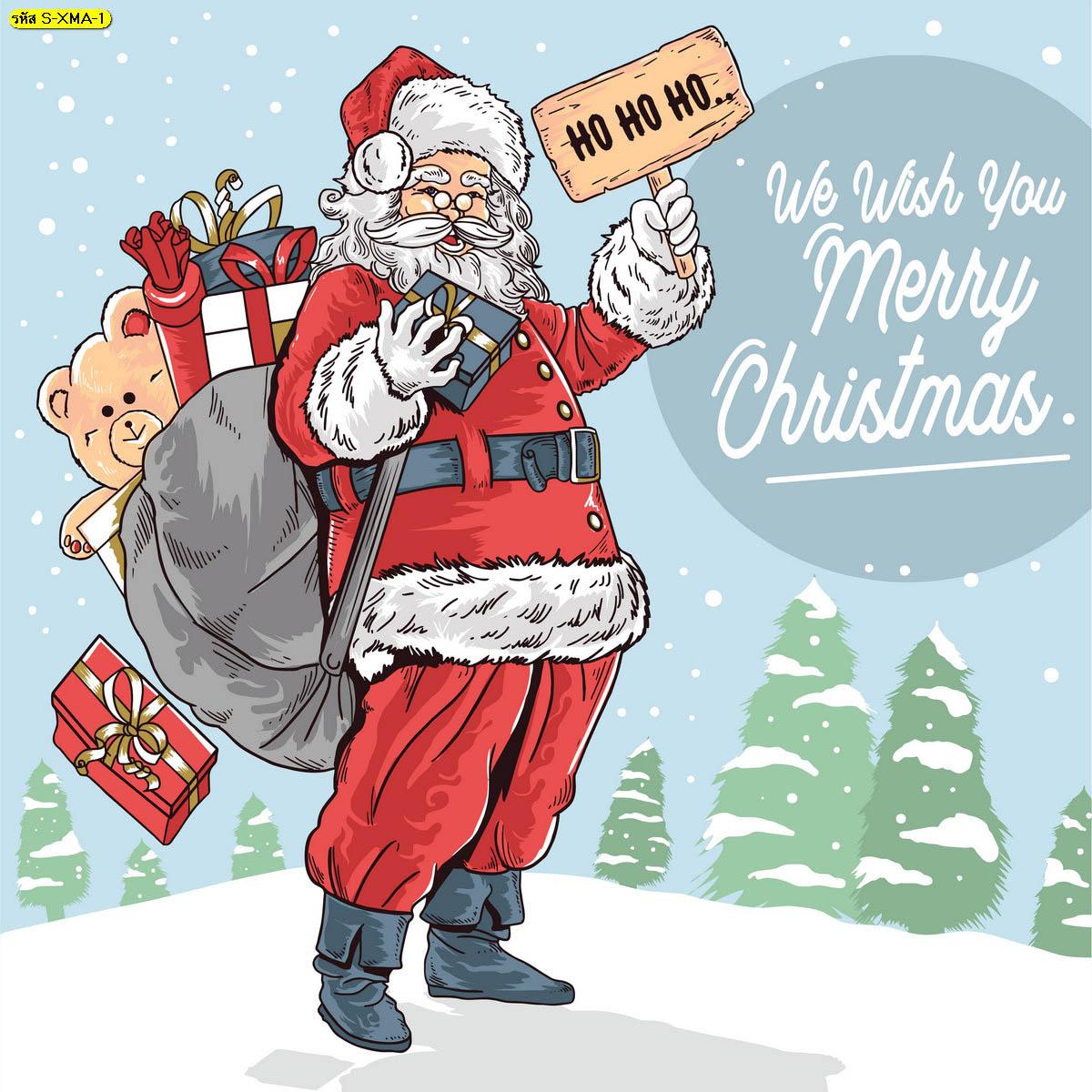 วอลเปเปอร์ซานตาคลอส Ho Ho Ho คำอวยพรวันคริสต์มาส เทศกาลคริสต์มาส