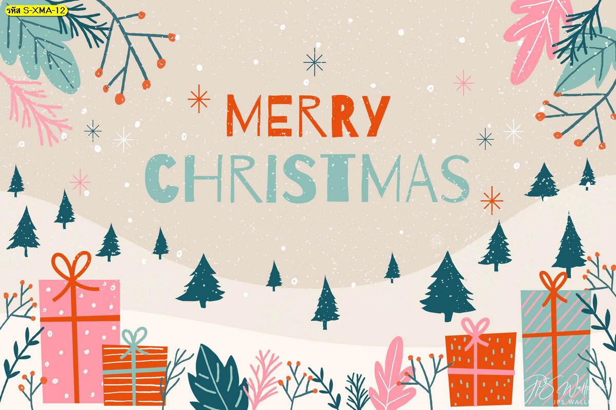 วอลเปเปอร์ของขวัญวันคริสต์มาส ตกแต่งคริสต์มาส ภาพพื้นหลังหิมะตก