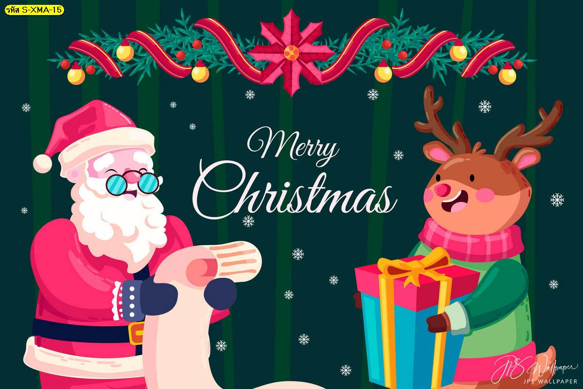 วอลเปเปอร์ซานตาคลอสและกวางในวันคริสต์มาส รูปวันคริสต์มาส แต่งบ้านวันคริสต์มาส