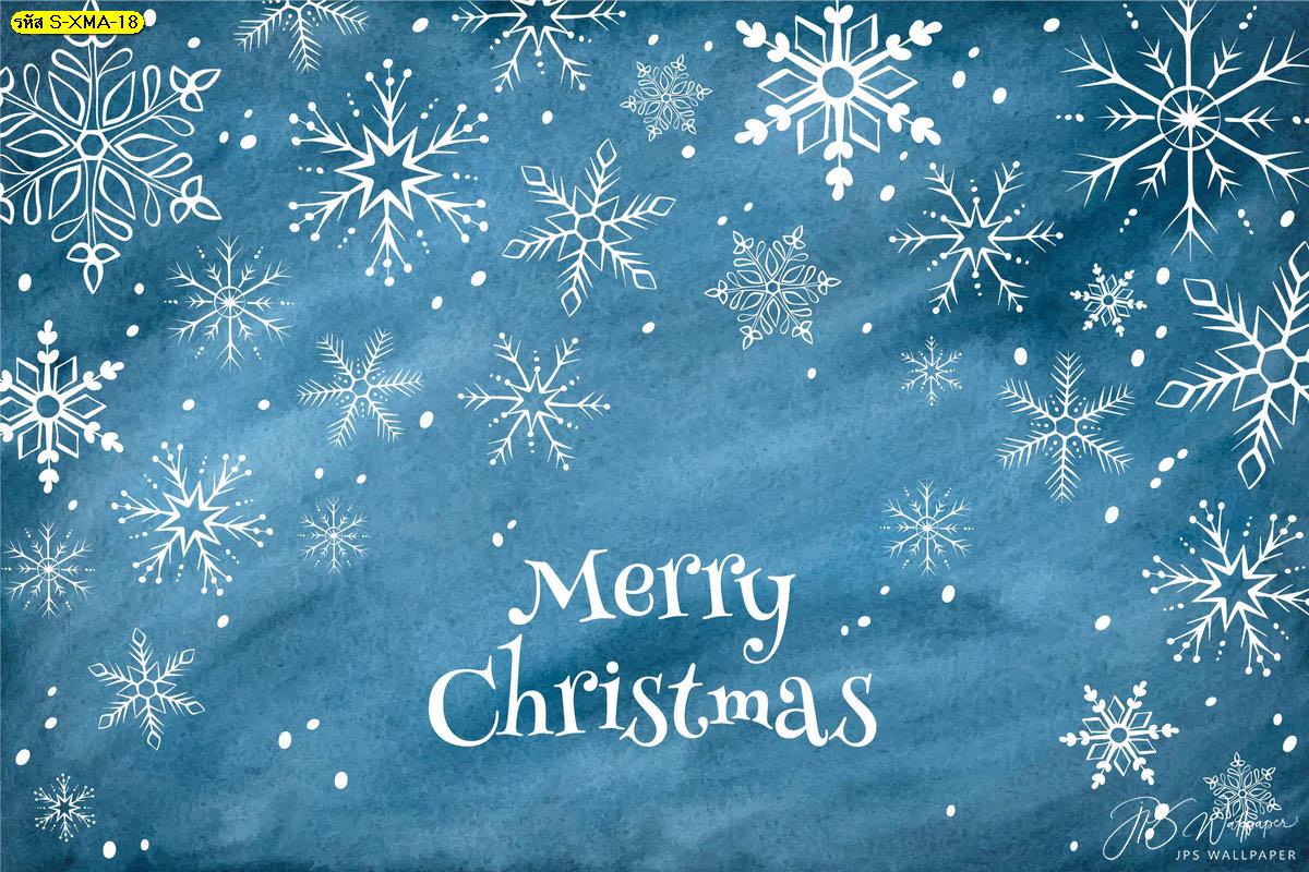 วอลเปเปอร์หิมะฤดูหนาวพื้นหลังสีฟ้า ภาพพื้นหลังหิมะ ตกแต่งคริสต์มาส