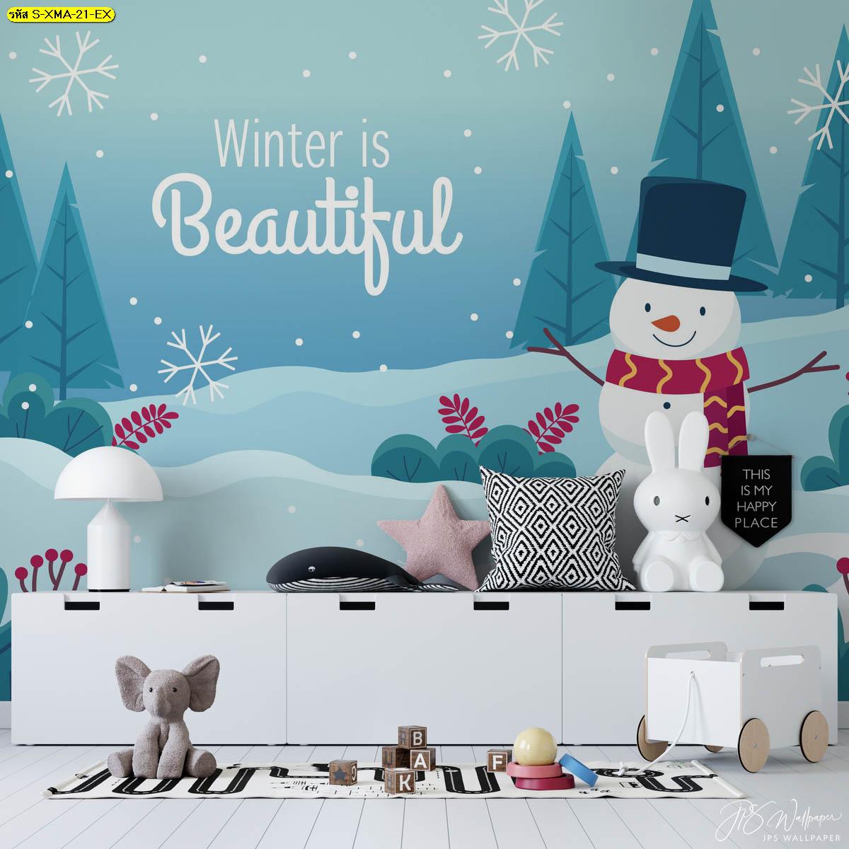 ใช้สีสดใสแต่งห้องเด็กเล่นให้น่ารักสดใส พื้นหลังลายสโนว์แมนกลางหิมะ