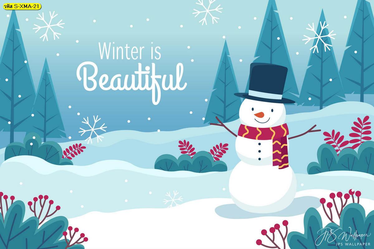 วอลเปเปอร์สโนว์แมนกลางหิมะฤดูหนาว น่ารัก สดใส ฉากหลังวันคริสต์มาส