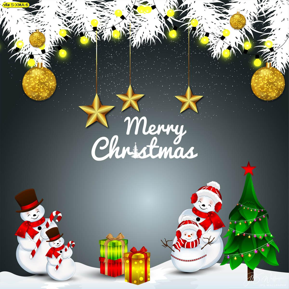 วอลเปเปอร์สโนว์แมน Merry christmas wallpaper พื้นหลังคริสต์มาส