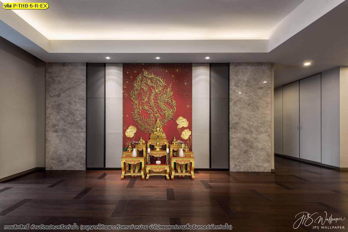 วอลเปเปอร์ลายไทยพญานาคลายเส้นสีทองประดับดอกบัวพื้นหลังสีแดง ภาพพื้นหลังพญานาค
