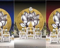 ภาพลายไทยดอกบัวพื้นหลังวงกลมสีทอง2