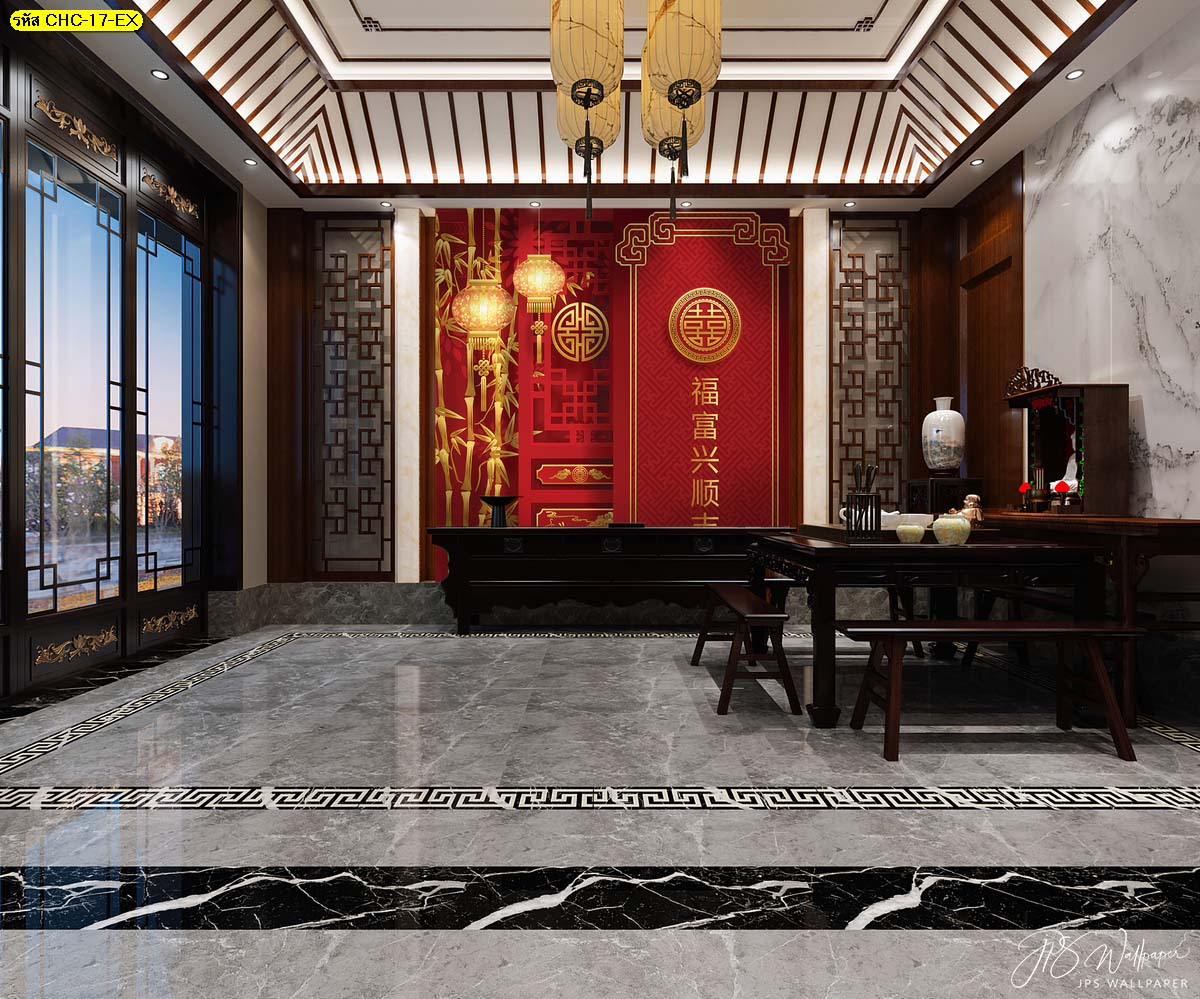 ตกแต่งผนังลายจีนมงคล วอลเปเปอร์สั่งพิมพ์แบบภาพวาดจีนมงคล อุปกรณ์แต่งบ้านสไตล์จีน