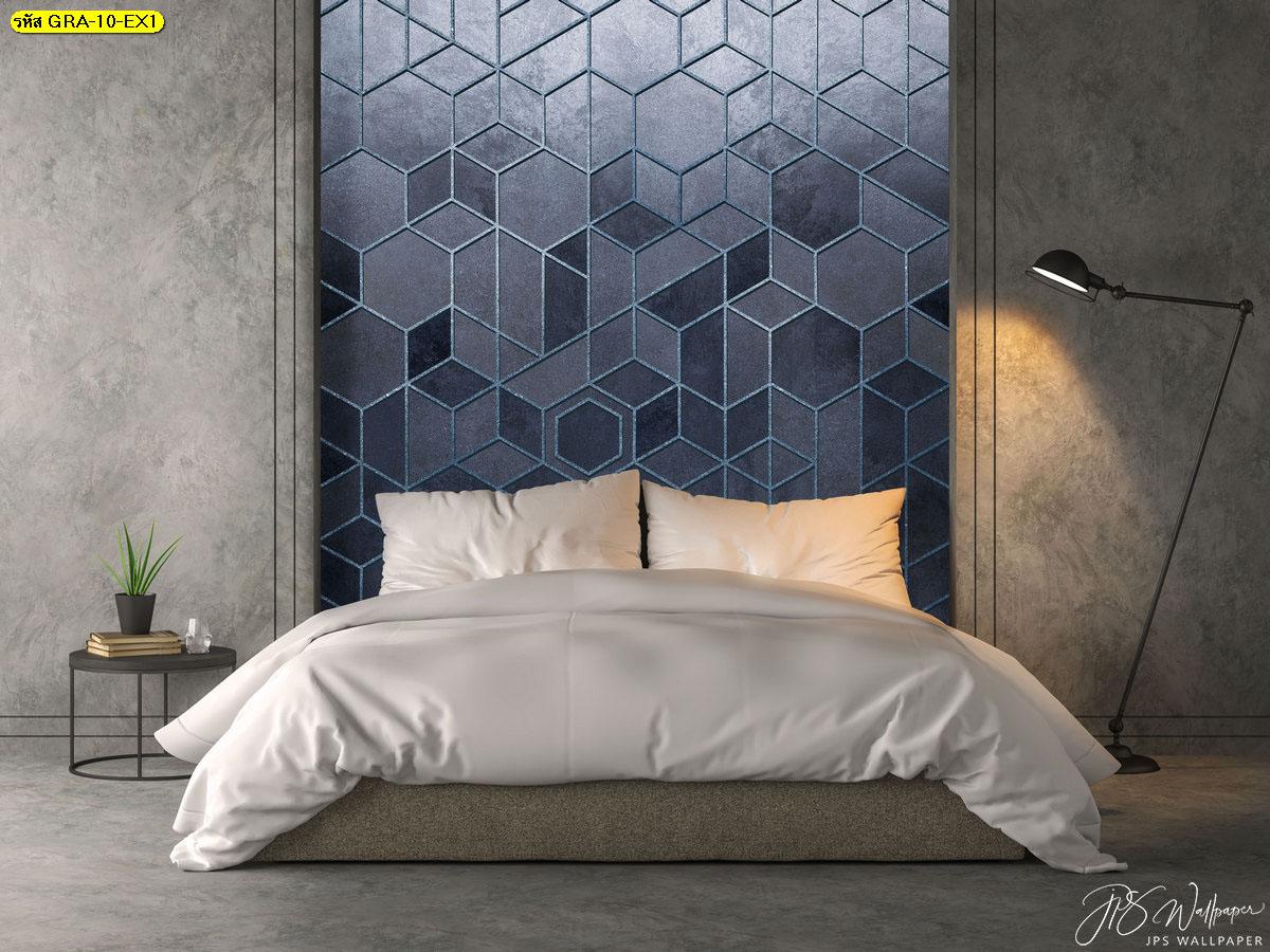 ภาพวอลเปเปอร์ลายกราฟิก วอลเปเปอร์ตกแต่งหัวเตียง วอลเปเปอร์ติดผนังหกเหลี่ยมขอบเงินพื้นหลังสีฟ้า
