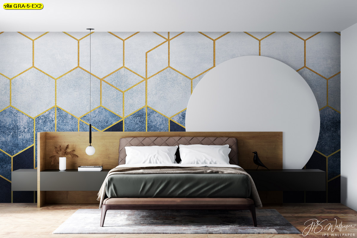 ภาพสั่งทำลายกราฟิก พิมพ์วอลเปเปอร์หกเหลี่ยมขอบทองพื้นหลังสีฟ้า ไอเดียผนังหัวเตียง