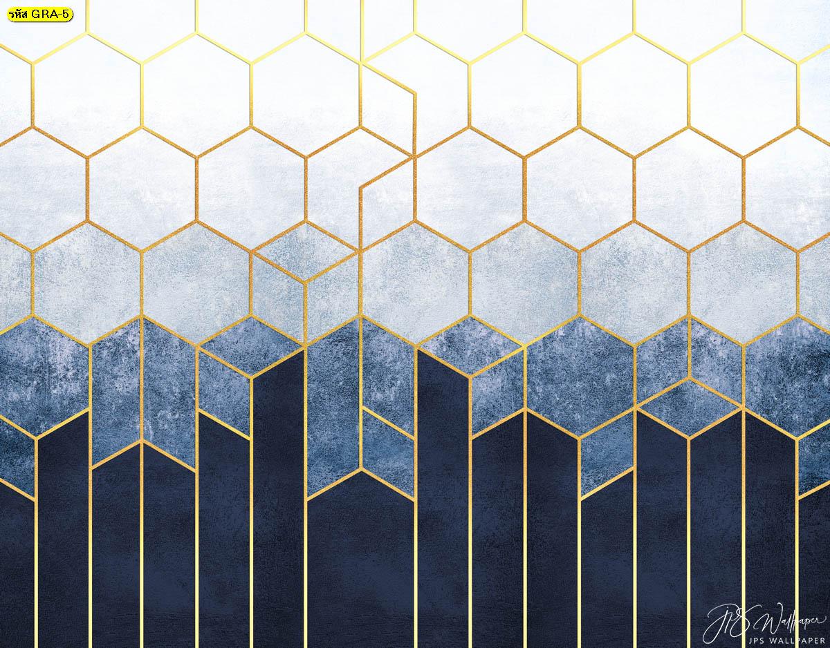 พิมพ์วอลเปเปอร์เส้นตัดสีทองพื้นหลังสีฟ้าไล่ระดับสี ภาพสั่งทำลายกราฟิก