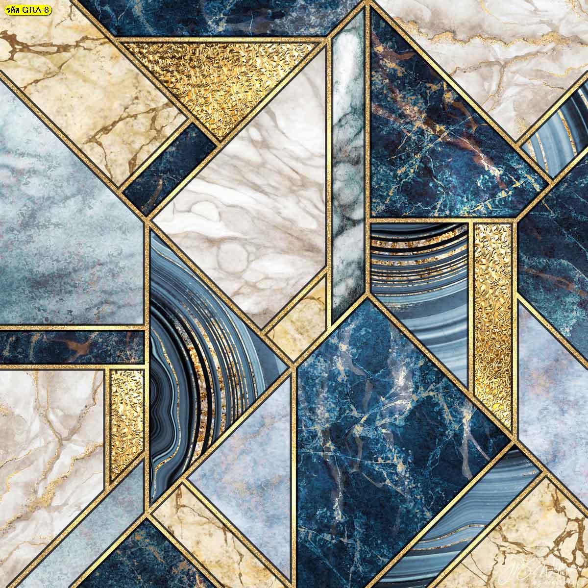 วอลเปเปอร์ติดผนังลายหินอ่อนสีฟ้าและสีขาวตัดเส้นสีทอง วอลเปเปอร์แต่งบ้านหรู