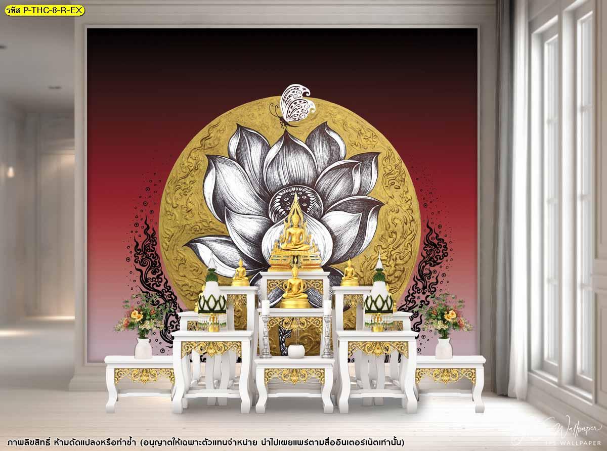ภาพสั่งพิมพ์ลายไทยดอกบัวพื้นหลังวงกลมสีทอง อุปกรณ์ประดับห้องพระ สั่งทํารูปติดผนังลายไทยดอกบัวสีแดง