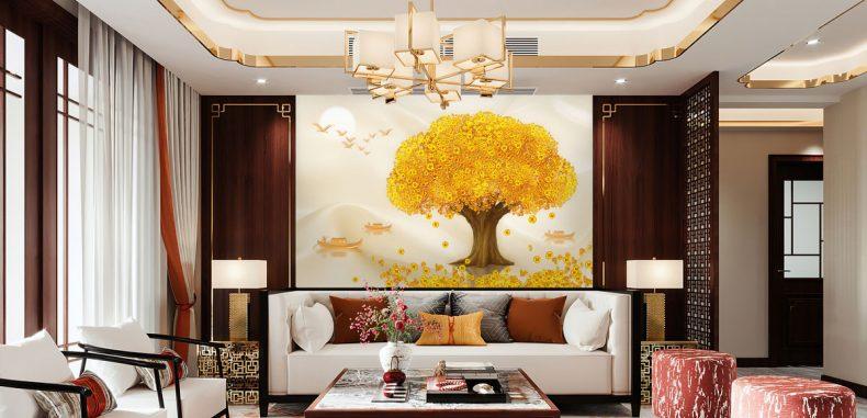 วอลเปเปอร์ต้นไม้ทอง รหัส PM-150