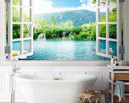 วอลเปเปอร์วิวหน้าต่าง ไอเดียห้องน้ำสดชื่น ภาพวิวติดในห้องน้ำ
