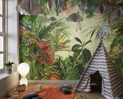 วอลเปเปอร์สวนป่าดอกไม้และนกโทนสีธรรมชาติ แต่งผนังห้องนั่งเล่นสวนป่า
