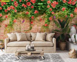 ห้องนั่งเล่นสไตล์ลอฟท์ วอลเปเปอร์ลายดอกกุหลาบบนกำแพงอิฐ