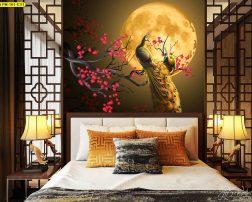 เสริมฮวงจุ้ยห้องนอน ภาพนกยูงติดหัวเตียง ห้องนอนแบบบ้านสไตล์จีน