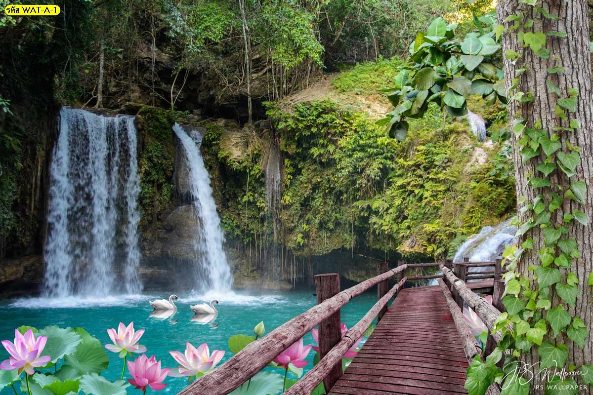 วอลเปเปอร์น้ำตกมีดอกบัวและสะพานไม้ วอลเปเปอร์สั่งพิมพ์ลายธรรมชาติ