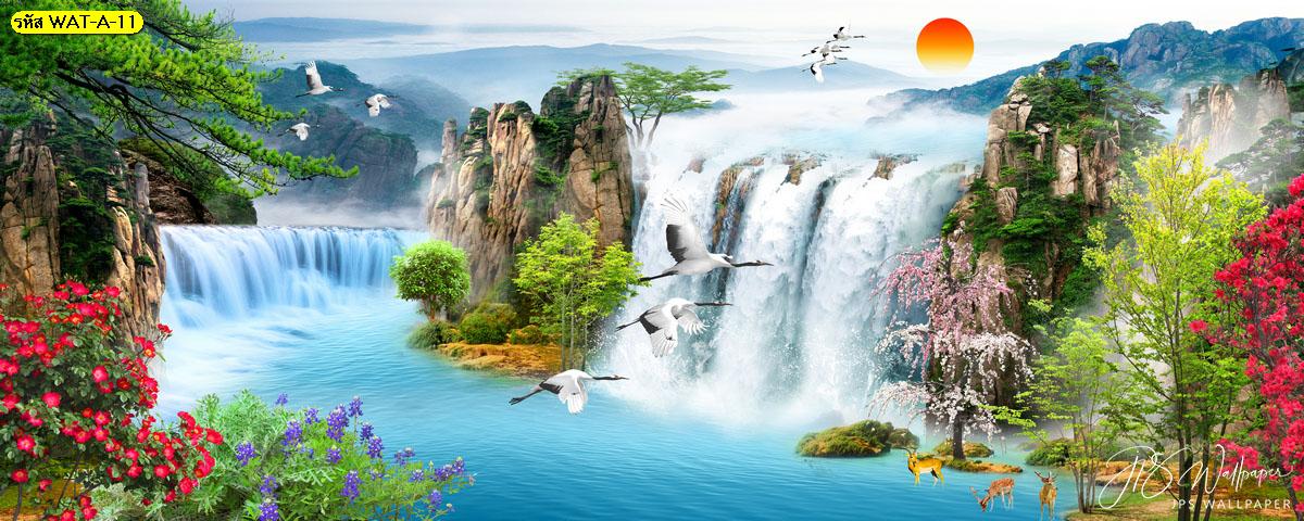 วอลเปเปอร์ลายน้ำตกขนาดใหญ่และป่าไม้ ภาพวิวธรรมชาติ ภาพสั่งพิมพ์ลายน้ำตก