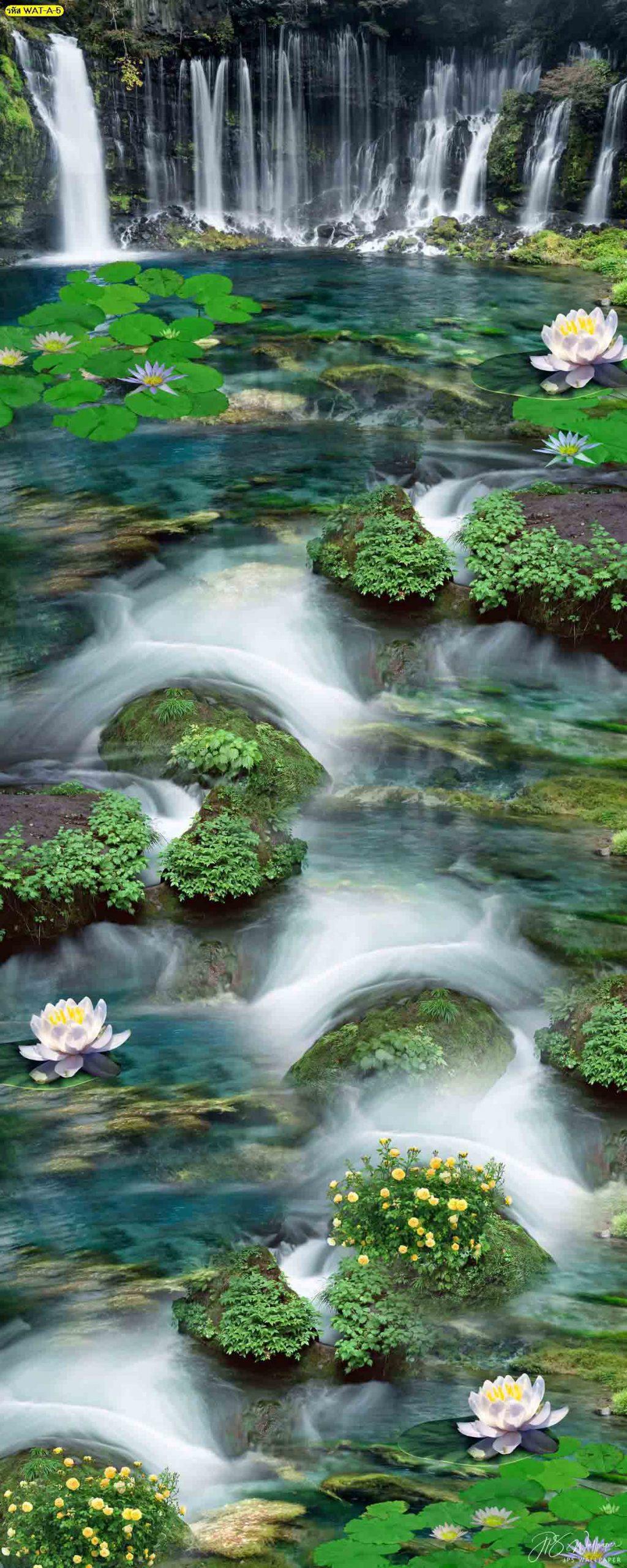วอลเปเปอร์ธารน้ำตกและดอกบัว รูปภาพธารน้ำตกขนาดใหญ่