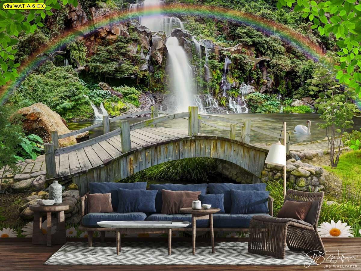 สั่งปริ้นวอลเปเปอร์สะพานไม้สายรุ้งและน้ำตกสีเขียว แต่งห้องนั่งเล่นบรรยากาศธรรมชาติ
