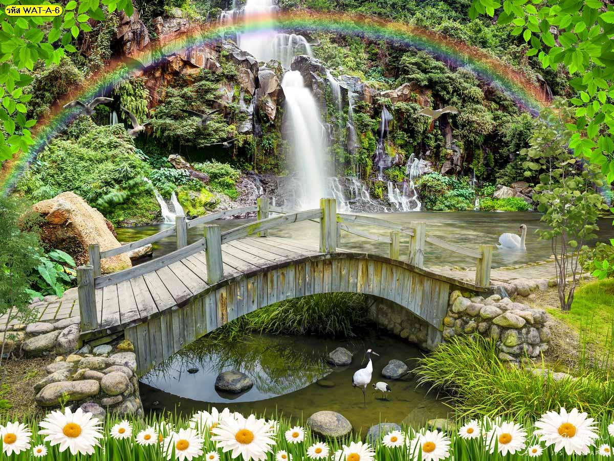วอลเปเปอร์สะพานไม้สายรุ้งและน้ำตกสีเขียว สะพานไม้วิวน้ำตก น้ำตกประดับบ้าน