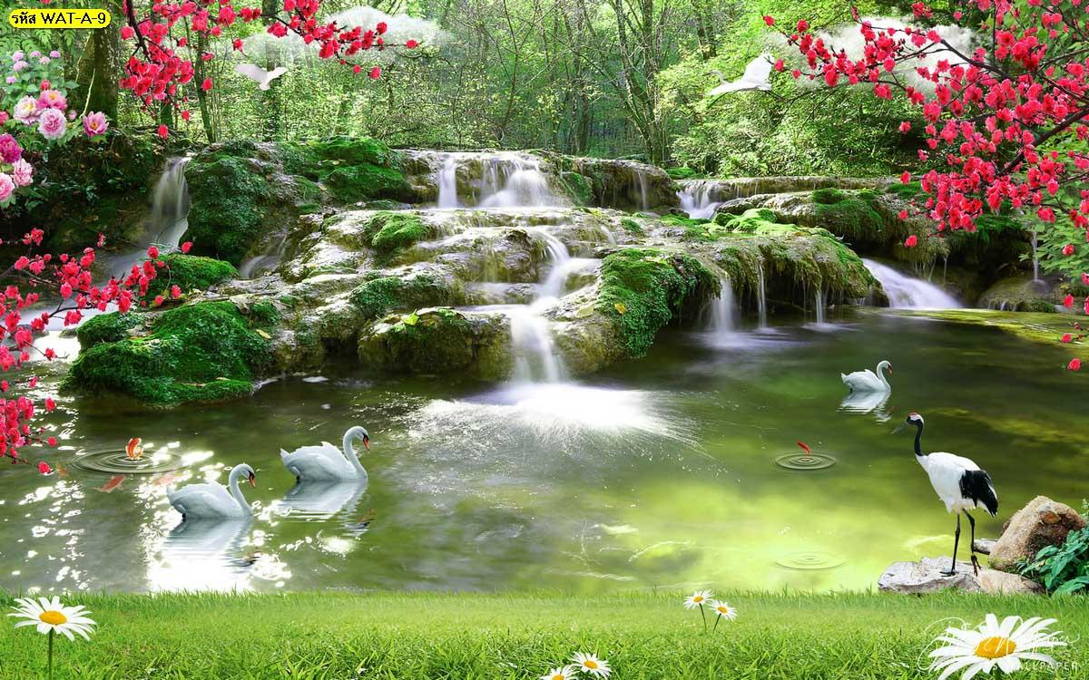 พิมพ์ภาพแต่งบ้านวอลเปเปอร์ลายน้ำตก วอลเปเปอร์ธารน้ำตกธรรมชาติและหงส์