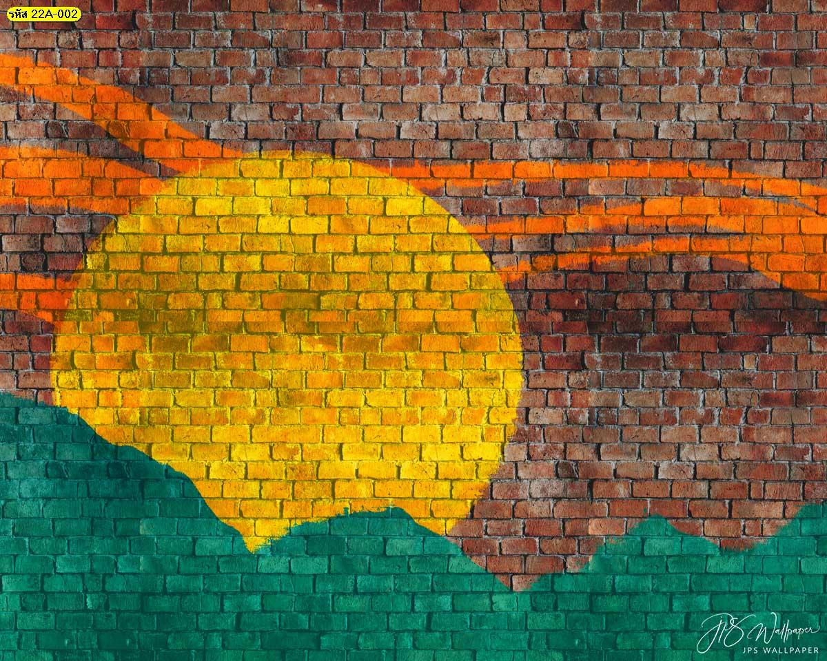สั่งพิมพ์ภาพศิลปะบนกำแพง ภาพพิมพ์สติ๊กเกอร์ลายพระอาทิตย์หลังภูเขา