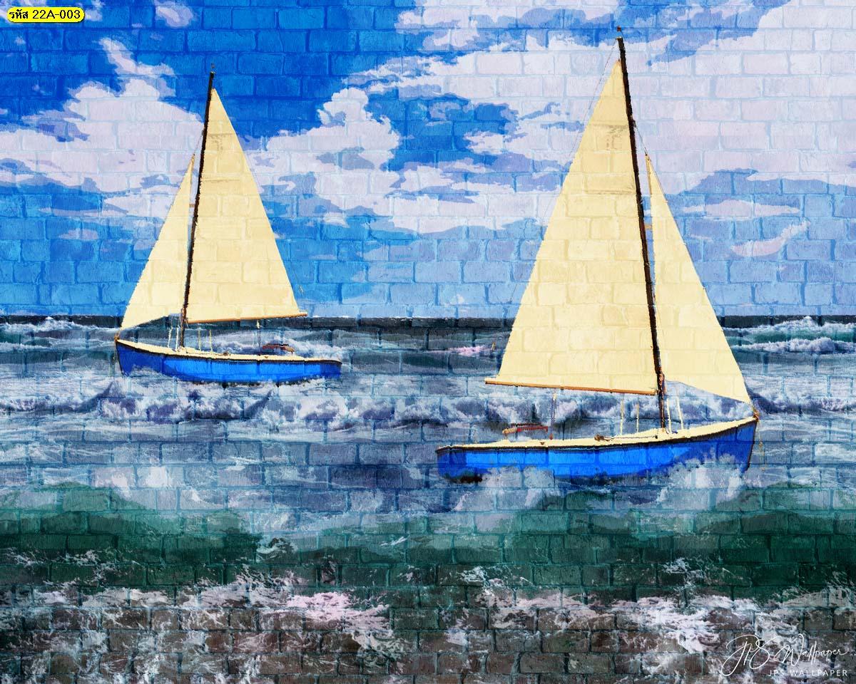 ภาพศิลปะตกแต่งบนกำแพง ภาพพิมพ์สติ๊กเกอร์ลายเรือใบในทะเล