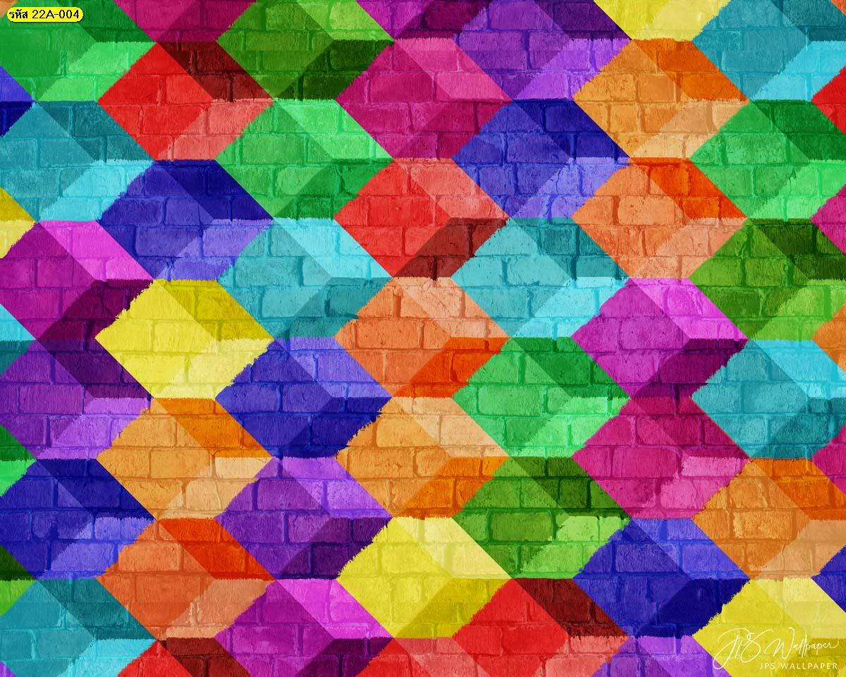 พิมพ์ภาพลงบนสติ๊กเกอร์3M ภาพพิมพ์สติ๊กเกอร์ลายอิฐบล็อกหลากสี