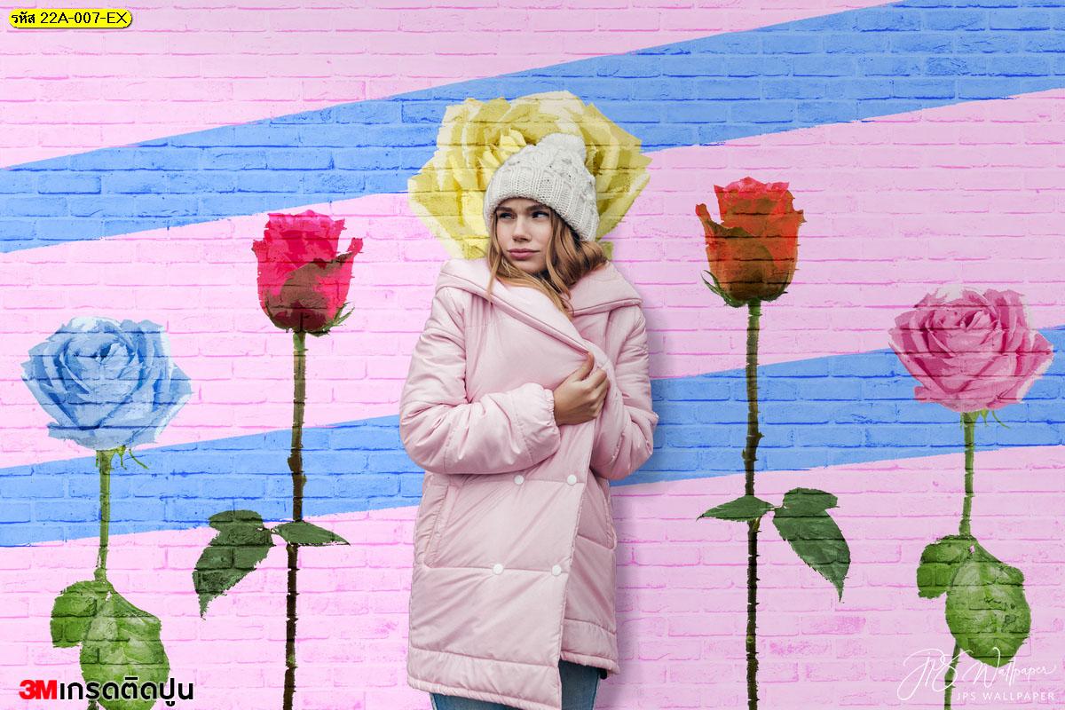 ภาพสั่งทำแต่งบ้านลายดอกไม้บนกำแพง แต่งผนังร้านลายกุหลาบ
