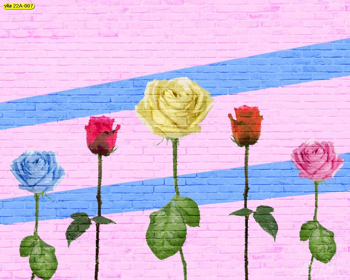 สติ๊กเกอร์สั่งทำแต่งบ้าน สติ๊กเกอร์สั่งพิมพ์ลายดอกไม้บนกำแพง ดอกกุหลาบบนกำแพง