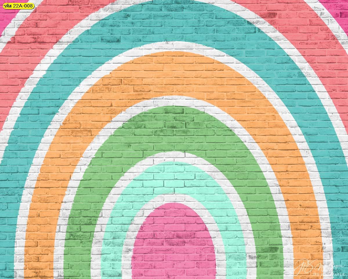 สั่งผลิตสติ๊กเกอร์ตกแต่งผนังร้าน สติ๊กเกอร์ติดผนังปูนลายครึ่งวงกลมสีสดใส