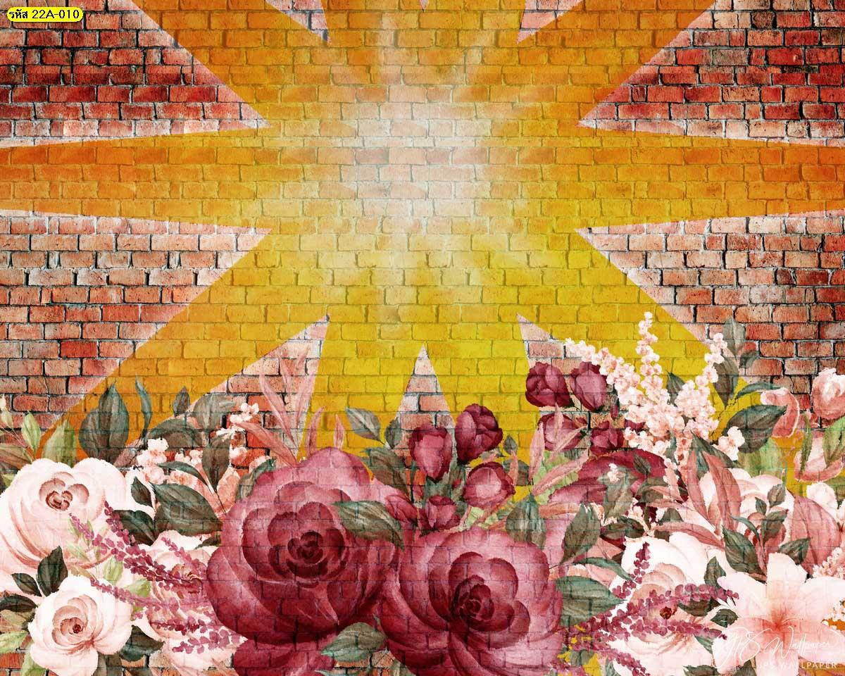 สติ๊กเกอร์ติดกำแพงลายดอกไม้ สั่งทำฉากถ่ายรูปสวยๆ Backdrop Loft-style