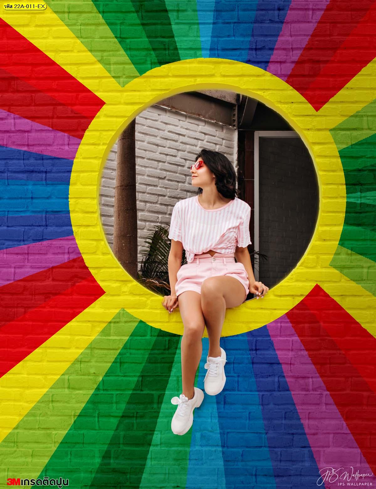 พิมพ์รูปลงสติ๊กเกอร์ขนาดใหญ่ สติ๊กเกอร์ติดผนังลายสายรุ้ง ตกแต่งมุมถ่ายรูปสีสันสดใส