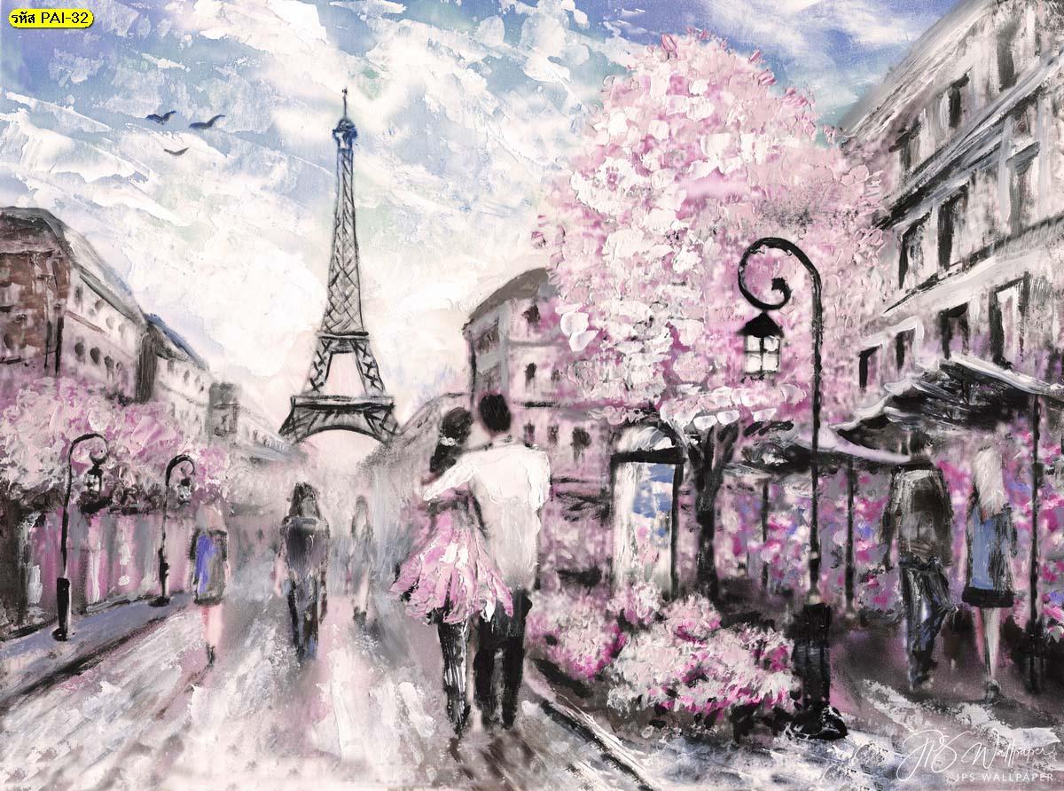ภาพวาดตกแต่งผนังห้อง วอลเปเปอร์ภาพวาดดอกเชอร์รี่บานที่ปารีส