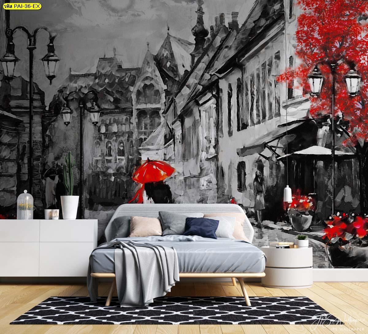 ภาพวาดสีน้ำมันสั่งพิมพ์บนผ้าแคนวาส รูปภาพขนาดใหญ่ตกแต่งผนังหัวเตียง แต่งห้องนอนสวยๆ