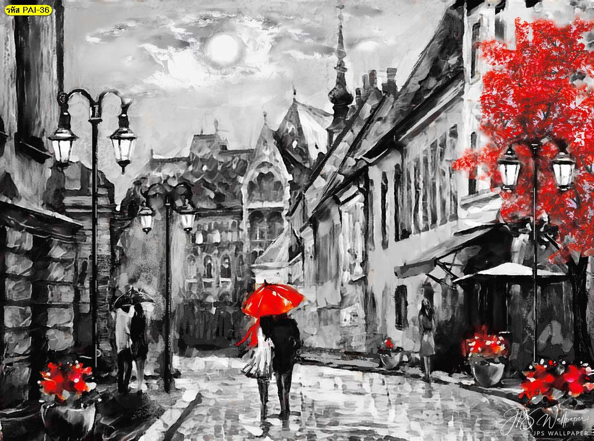 ภาพวาดสีน้ำมันสั่งพิมพ์ประดับผนัง วอลเปเปอร์ภาพวาดคนเดินในเมืองยุโรป