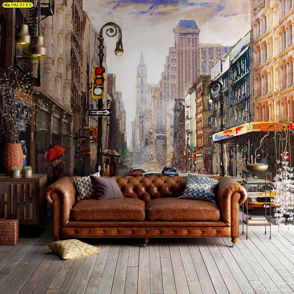 ตกแต่งผนังลายภาพวาดวิวเมือง ภาพติดผนังหลังโซฟา ภาพเท่ๆตกแต่งห้องนั่งเล่น