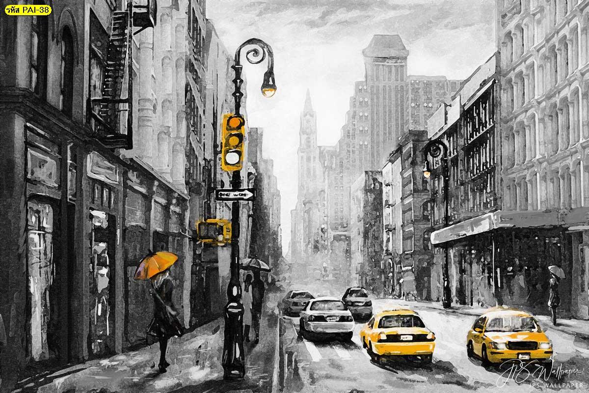 ภาพวาดติดผนัง วอลเปเปอร์ภาพวาดสีน้ำมันวิวถนนเมืองนิวยอร์กระบายสีเหลือง