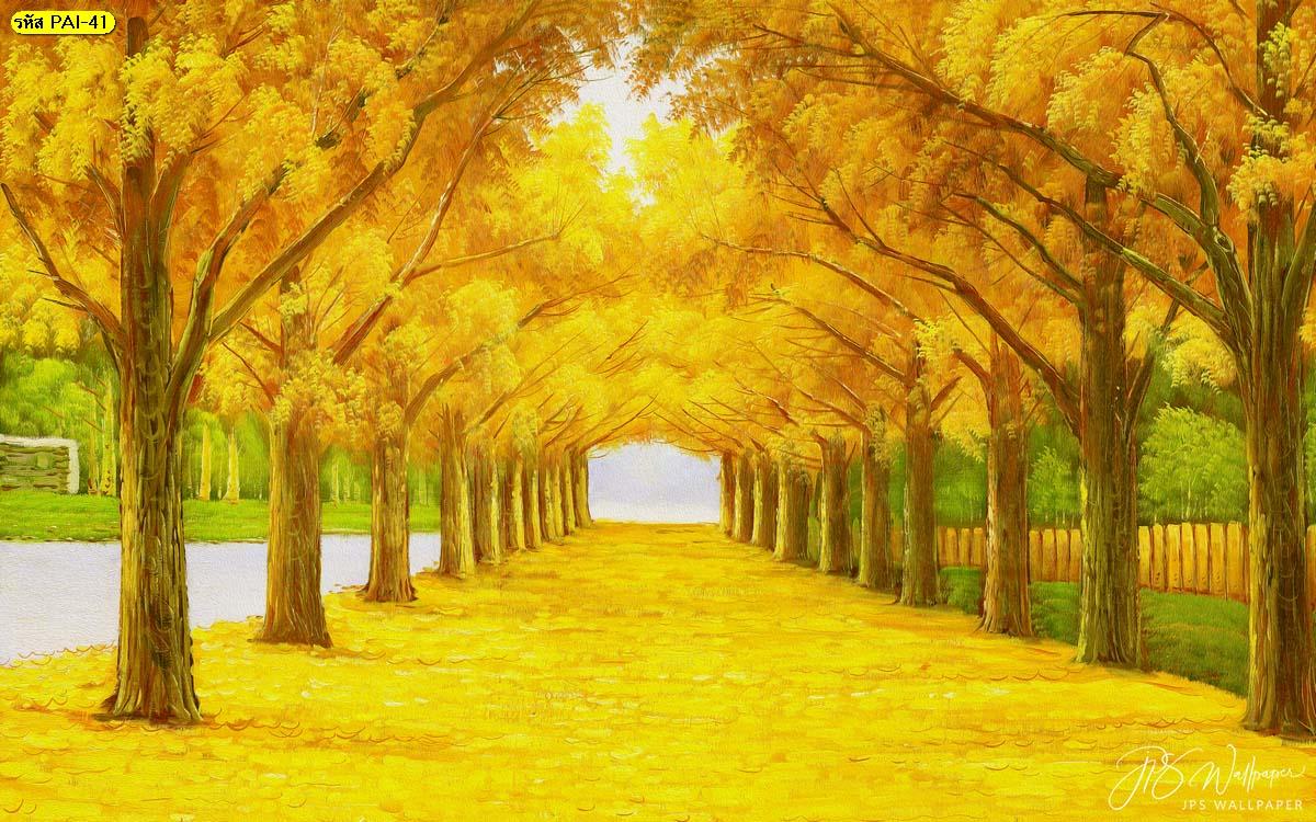 ภาพอุโมงค์ต้นไม้ วอลเปเปอร์ภาพวาดอุโมงค์ต้นไม้