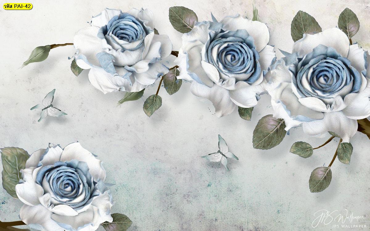 สั่งพิมพ์ภาพขนาดใหญ่ติดผนัง วอลเปเปอร์ดอกไม้สีขาวปนสีฟ้าบนผนังกำแพง