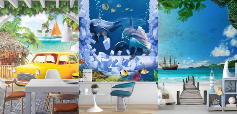 15 ไอเดีย แต่งบ้านด้วยภาพสั่งพิมพ์สามมิติ สัตว์ใต้ทะเล วิวริมทะเล